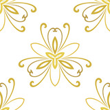 Floral golden ornament. Seamless abstract classic background with flowers. Pattern with repeating floral elements - 243543287