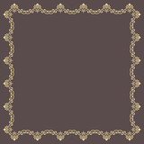 Classic golden square frame with arabesques and orient elements. Abstract ornament with place for text. Vintage pattern - 243543467