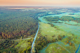 Aerial view of countryside in summer evening - 243544684