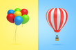 3d rendering of a bundle of multicolored balloons on yellow background on the left and of a hot-air balloon on light-blue background on the right.