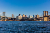 the Brooklyn and  Manhattan Bridges  Landmarks in New York City USA - 243549008