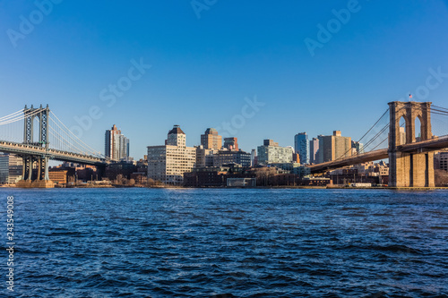 obraz PCV the Brooklyn and Manhattan Bridges Landmarks in New York City USA
