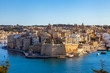 Quadro Valletta, Malta, on January 8, 2019. A view from the survey platform on the picturesque gulf and Three cities
