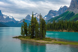 Canada forest landscape of Spirit Island with big mountain in the background, Alberta, Canada. - 243552854