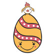 Cute cartoon vector decorated Easter egg with tiny chick and smiling face. Hand drawn illustration. Happy spring christian holiday motif element in pink, white, yellow flat color. - 243553218