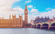 The Big Ben, the Houses of Parliament and Westminster Bridge in London