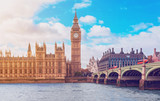 The Big Ben, the Houses of Parliament and Westminster Bridge in London - 243555859