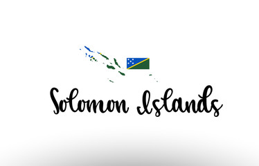 Solomon Islands country big text with flag inside map concept logo