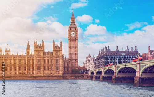 obraz lub plakat The Big Ben, the Houses of Parliament and Westminster Bridge in London