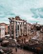 Quadro Roman Forum with cloudy sky. Italy antique