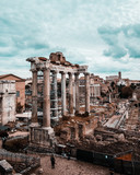 Roman Forum with cloudy sky. Italy antique
