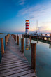 Leinwanddruck Bild - Lighthouse at Lake Neusiedl at sunset near Podersdorf, Burgenland, Austria