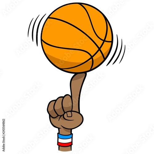 Basketball Spinning on Finger - A vector cartoon illustration of a Basketball Spinning on Finger.