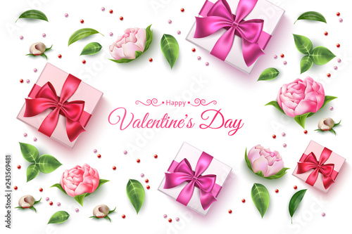 Vector valentine day rose flower present box