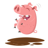 funny pig jumping into the puddle of mud