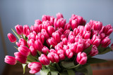 Fototapeta Tulipany - Fresh pink tulip flowers bouquet. Copy space. © BestForYou