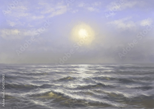 Digital oil paintings sea landscape. Fine art.
