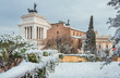 Capitoline Hill after a snowfall, in the historic center of Rome