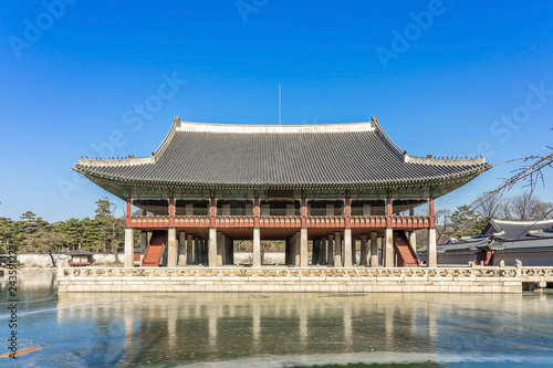 Gyeonghoeru Pavilion is a building in Gyeongbokgung Palace. Gyeonghoeru is a hall used to hold important and special state banquets during the Joseon Dynasty.