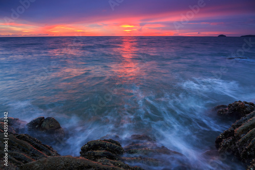 Amazing beautiful Nature of Sunset Over the Sea with Twilight Sky at Sabah Borneo - 243592442