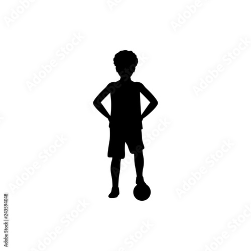 silhouette of boy football player