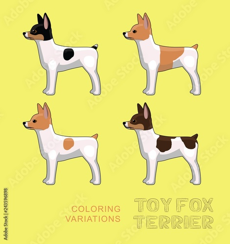 Dog Toy Fox Terrier Coloring Variations Vector Illustration