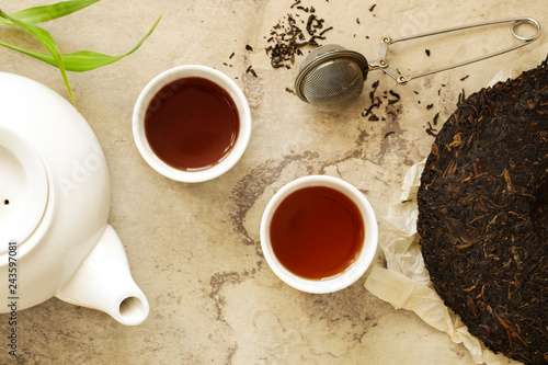 Chinese tea. Pu erh Puerh Tea Cake.