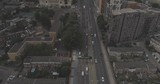 Aerial view of congested highway through city 4k - 243601896