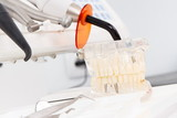 Dental jaw model, instruments and tools with instruments used by dentists in stomatology office