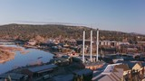 Oregon circa-2018. Aerial view of Bend, Oregon Old Mill District. Shot from helicopter with Cineflex gimbal and RED Epic-W camera. - 243606001