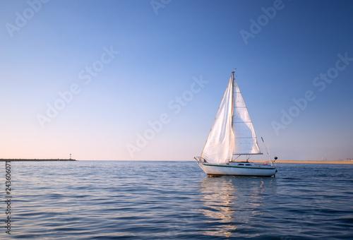 Leinwandbild Motiv Sailboat in Channel Islands harbor in Oxnard California United States