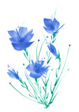 Watercolor bouquet of blue flowers, Beautiful abstract splash of paint, fashion illustration. Orchid flowers, gladiolus, cornflower, iris, wildflowers, field or garden flowers.On a white background