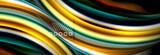 Rainbow color fluid wave lines flow poster. Wave Liquid shapes design - 243609424