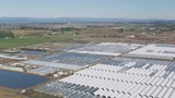 Oregon circa-2018. Aerial view of plant Nursery green houses. Shot from helicopter with Cineflex gimbal and RED Epic-W camera. - 243610029
