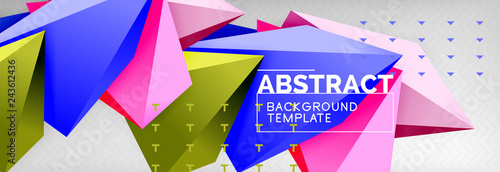 Bright colorful triangular poly 3d composition, abstract geometric background, minimal design, polygonal futuristic poster template - 243612436