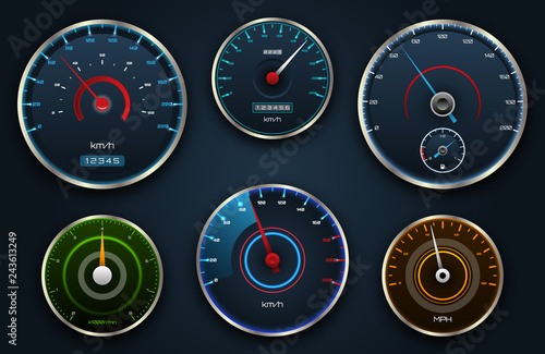 Set Speedometers, Icon group with Dials, Panel Control, Indicator