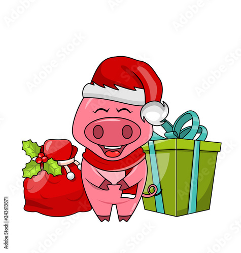 Christmas Funny Pig in Santa's Hat and Scarf with Gift Box and Bag - Illustration
