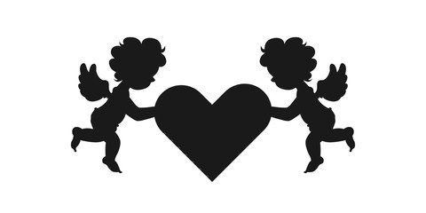 Silhouette of two amour cupid babies, symbol ancient mythology angle holding heart isolated on white background for decorate on valentine's day, Vector illustration. © Thanaporn