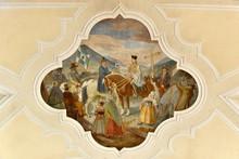"""Постер, картина, фотообои """"Deckenfresko im Schiff, Pfarrkirche Mariä Himmelfahrt, erstmals erwähnt 1179, Bad Kötzting, Bayern, Deutschland, Europa"""""""