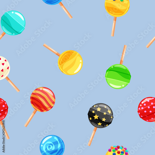 fototapeta na ścianę Seamless pattern colored candy lollipop, caramel on stick. Cute ornament for packaging, fabric, background, banner, poster, vector, illustration, isolated, cartoon style
