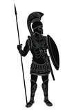 Roman Empire warrior in armor and a helmet with a weapon in hand isolated on white background. - 243620615