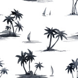Watercolor abstract tropical vector pattern - 243621686