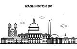 Washington DC City Tour Cityscape Skyline Line Outline Illustration - 243626098