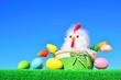 Leinwanddruck Bild - easter chickens and eggs
