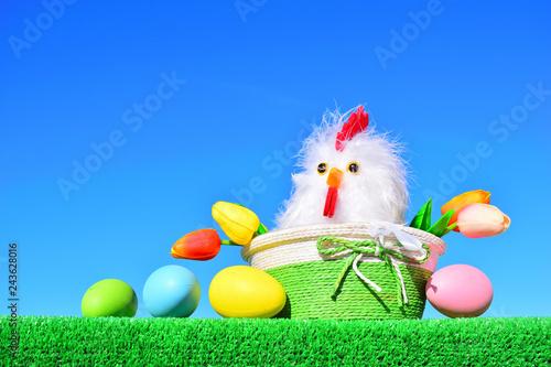 Leinwanddruck Bild easter chickens and eggs