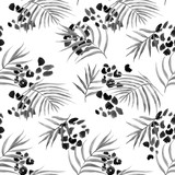 Watercolor abstract tropical vector pattern - 243629603