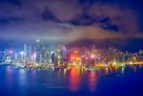 Aerial view of illuminated Hong Kong skyline. Hong Kong, China - 243631260