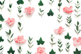 Spring Background With Soft Pink Azalea Flowers And Green Ivy Leaves - 243635296
