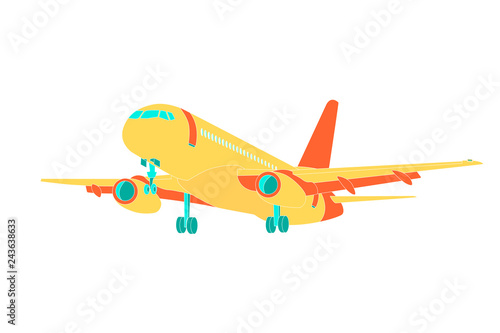Airplane icon vector illustration. Airplane flight travel symbol. Flat plane view of a flying plane stock vector image