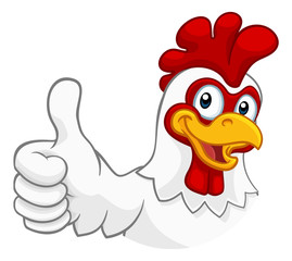 A chicken cartoon rooster cockerel character mascot giving a thumbs up. © Christos Georghiou
